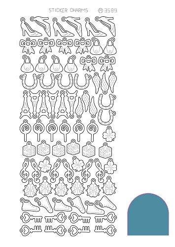Hobbyjournaal - Stickervel - Charm Lucky - Mirror: Turquoise - STCH04D
