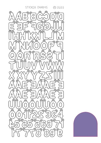 Hobbyjournaal - Stickervel - Charm ABC - Mirror: Purple - STCH029