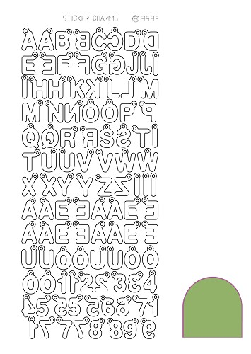 Hobbyjournaal - Stickervel - Charm ABC - Mirror: Lime - STCH02C