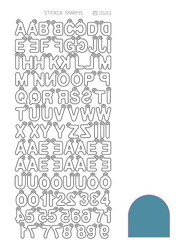 Hobbyjournaal - Stickervel - Charm ABC - Mirror: Turquoise - STCH02D