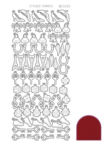 Hobbyjournaal - Stickervel - Charm Lucky - Mirror: Red - STCH044