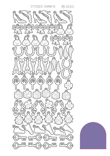 Hobbyjournaal - Stickervel - Charm Lucky - Mirror: Purple - STCH049