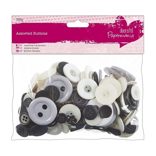 Papermania - Assorted Buttons - Capsule Collection - Spots & Stripes: Monochrome - PMA354321
