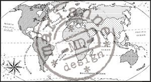 Marianne Design - Clearstamp - Map of the world - CS0913