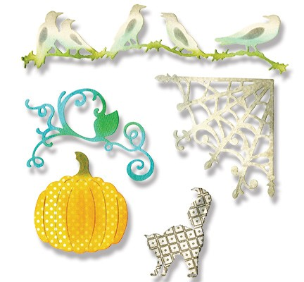 Sizzix - Die - Thinlits - Pumpkin, Cat, Crows & Web