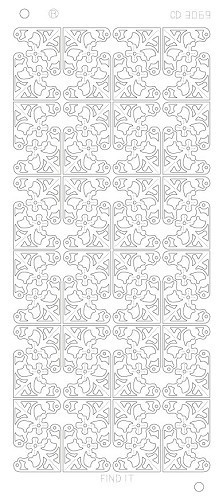 Card Deco - Stickervel - Platinum - Flower Corners: Zilver