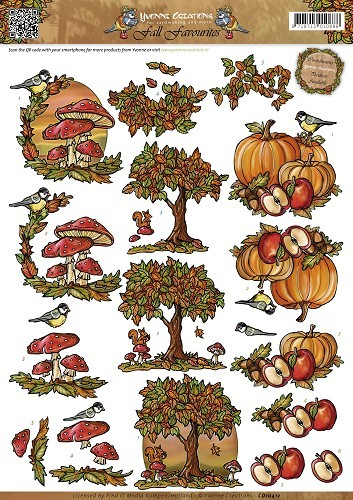 Yvonne Creations - 3D-knipvel A4 - Fall Favorites - Herfsttaferelen - CD10412
