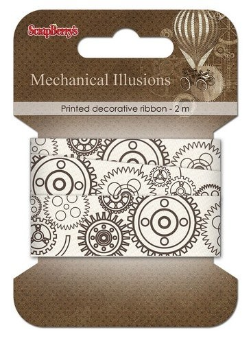 ScrapBerry`s - Printed Decorative Ribbon - Mechanical Illusions - Gears - SCB390312