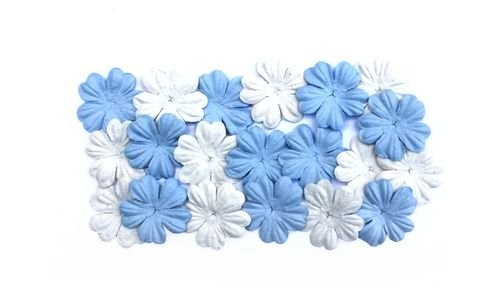 ScrapBerry`s - Mulberry Paper Flowers: Light blue & White - SCB300806