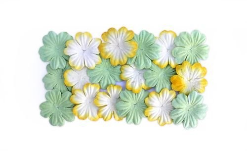 ScrapBerry`s - Mulberry Paper Flowers: Light Green Yellow - SCB300805