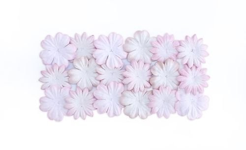 ScrapBerry`s - Mulberry Paper Flowers: White With Pink - SCB300801
