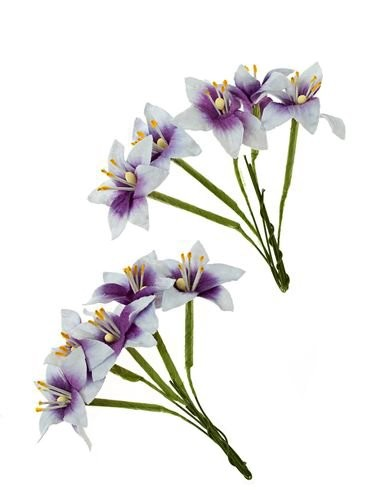 ScrapBerry`s - Paper Flowers - Stemmed Lily: Purple & White - SCB290404
