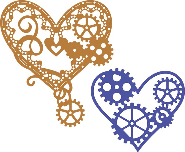 Cheery Lynn Design - Die - Hearts `n Gears (Steampunk Series - Set of 2) - B378