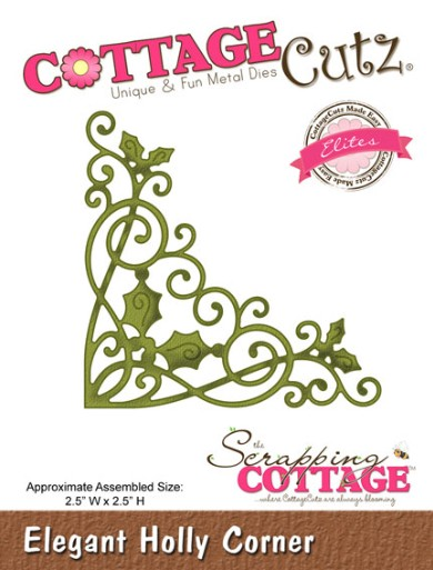 Cottage Cutz - Die - Elegant Holly Corner - CCE-035