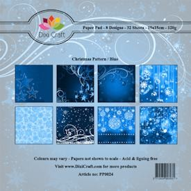Dixi Craft - Paperpack - Christmas Pattern: Blue - PP0024