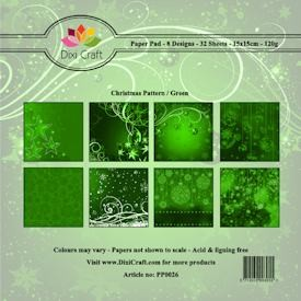 Dixi Craft - Paperpack - Christmas Pattern: Green - PP0026