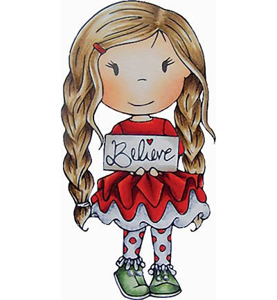 Paper Nested Dolls - Cling Stamp - Ellie with Sign - 70044