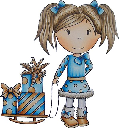 Paper Nested Dolls - Cling Stamp - Emma Pulling Presents - 70047