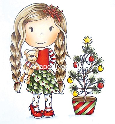 Paper Nested Dolls - Cling Stamp - Christmas Tree Ellie - 70049