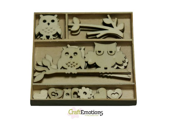 CraftEmotions - Wooden Ornaments - Owls - 811500/0204