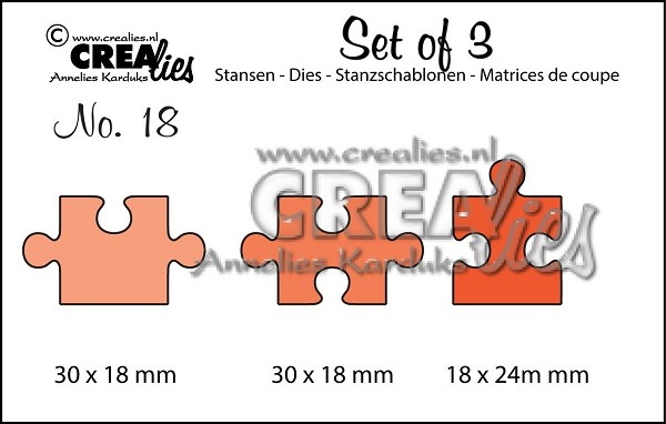 Crealies - Die - Set of 3 - Puzzlepieces - No. 18