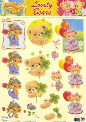 Studio Light - 3D-knipvel A4 - Lovely Bears - STAPLB03