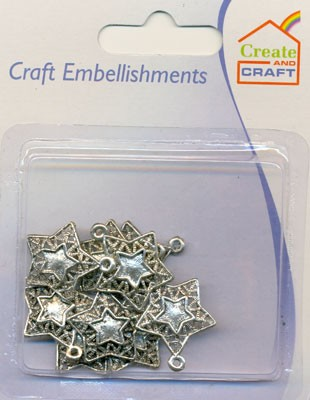 Create and Craft - Embellishments - Sterren: Zilver - 318737