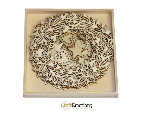 CraftEmotions - Wooden Ornaments - Wreath and Decoration - 811500/0219