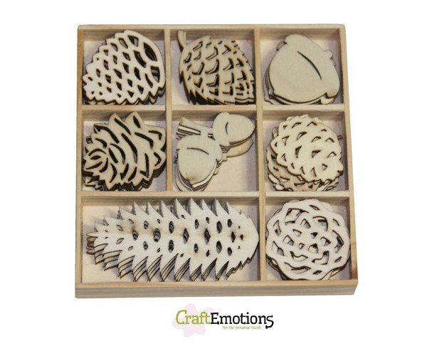 CraftEmotions - Wooden Ornaments - Winter Woods - Dennenappels - 811500/0142