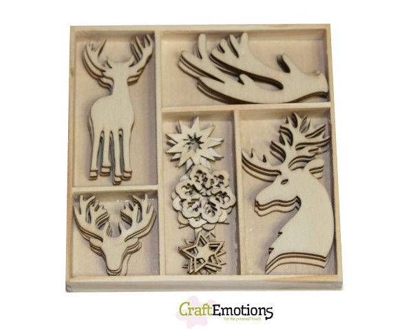 CraftEmotions - Wooden Ornaments - Winter Woods - Rendier - 811500/0141