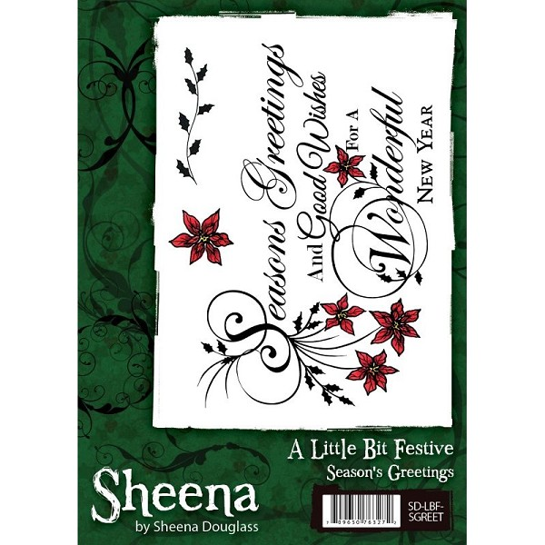 Sheena Douglass - Cling Stamp - A Little Bit Festive - Seasons`s Greetings - SD-LBF-SGREET