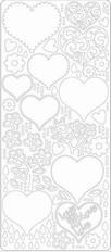 Elizabeth Craft Designs - Stickervel - Afbeeldingen - Harten: Wit - 0427