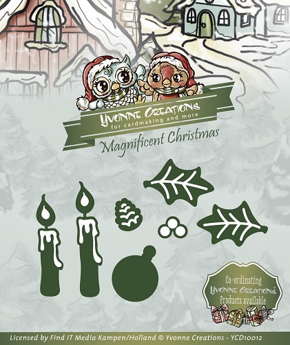 Yvonne Creations - Die - Magnificent Christmas - Candle Set