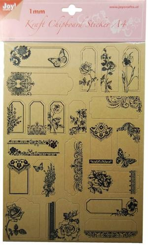 Joy! crafts - Kraft Chipboard Stickers - Bloemen - 6013/1498