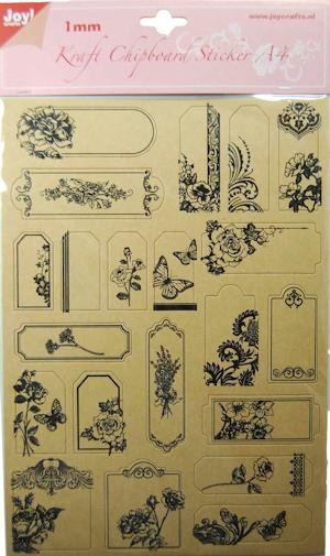 Joy! crafts - Kraft Chipboard Stickers - Bloemen - 6013/1499