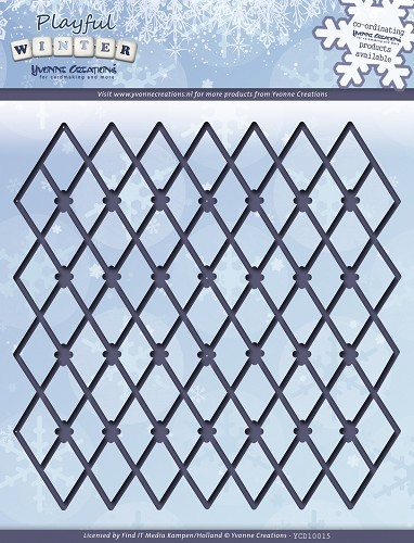 Card Deco - Yvonne Creations - Die - Playful Winter - Trellis Frame - YCD10015