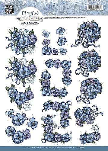 Yvonne Creations - 3D-knipvel A4 - Playfull Winter - Snowflowers - CD10431
