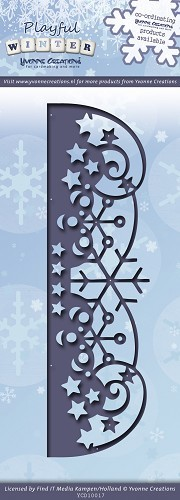 Card Deco - Yvonne Creations - Die - Playful Winter - Snowflakes border