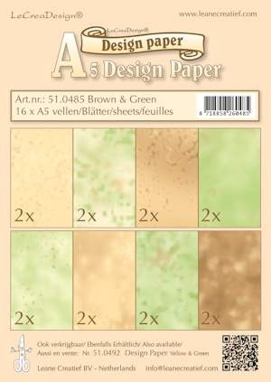 Leane Creatief - Paperpack - Design Paper - Brown & Green - 51.0485