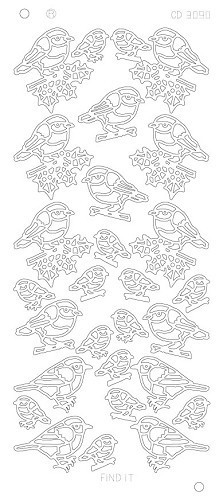 Card Deco - Stickervel - Platinum - X-mas birds: Zilver - CD3090