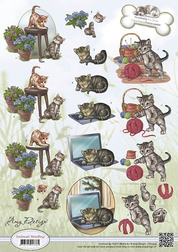Card Deco - Amy Design - 3D-knipvel A4 - Animal Medley - Kittens