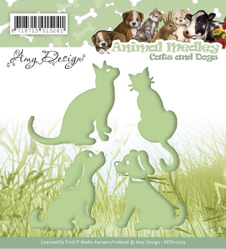 Card Deco - Amy Design - Die - Animal Medley - Cats and Dogs
