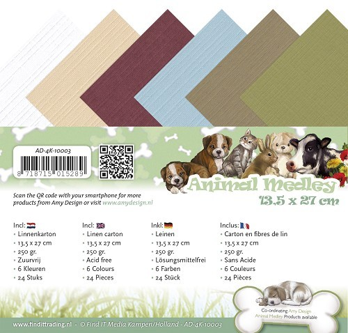 Amy Design - Linnenpakket 135 x 270mm - Animal Medley - AD-4K-10003