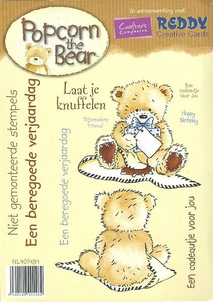 Crafter`s Companion - Popcorn the Bear - Cling Stamp - Laat je knuffelen - NL401484