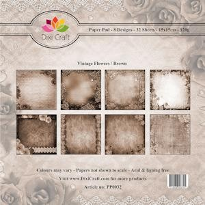 Dixi Craft - Paperpack - Vintage Flowers: Brown - PP0032