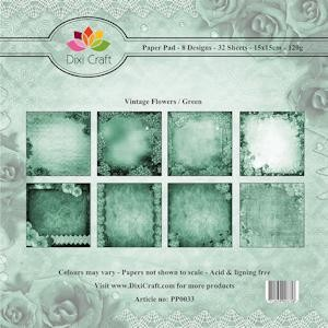 Dixi Craft - Paperpack - Vintage Flowers: Green - PP0033