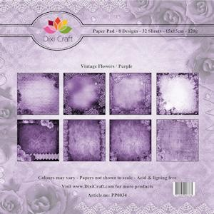 Dixi Craft - Paperpack - Vintage Flowers: Purple - PP0034