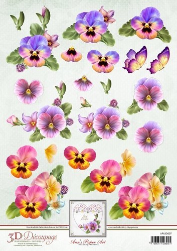 Ann`s Paper Art - 3D-knipvel A4 - Colourful Pansies - APA3D007