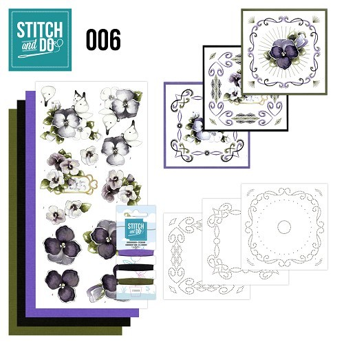 Card Deco - Kaartenpakket - Stitch & Do No. 06 - Viooltjes - STDO006