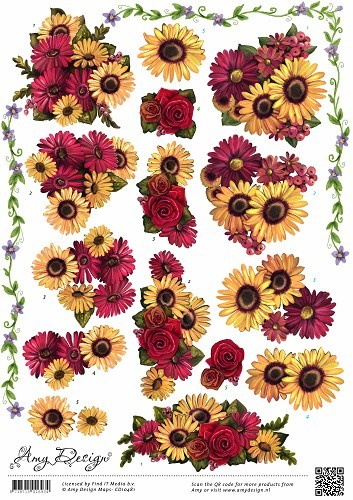 Amy Design - 3D-knipvel A4 - Bloemen - CD10481